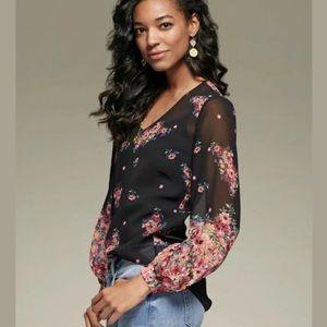 CAbi #3594 Blooming Blouse Sheer  Floral V-Neck M